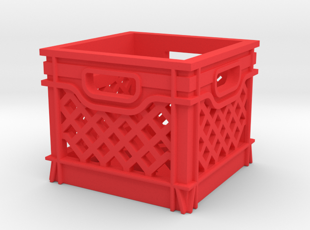 1/10 SCALE MILK CRATE in Red Processed Versatile Plastic