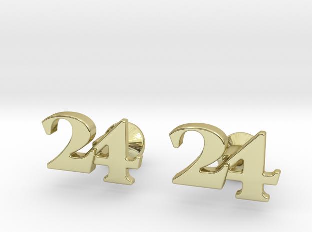 Monogram Cufflinks 24 in 18k Gold Plated Brass