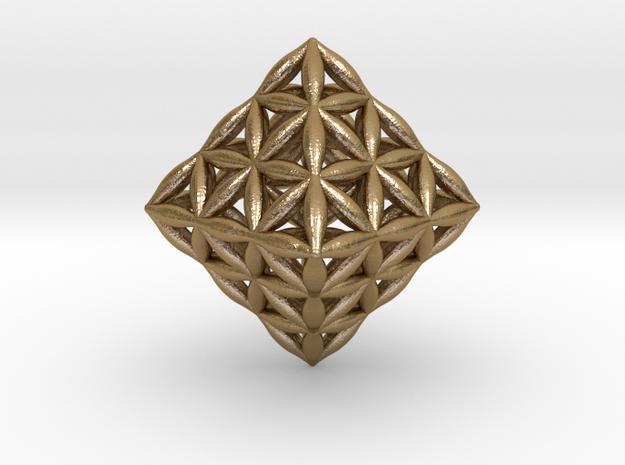 Flower Of Life Octahedron in Polished Gold Steel