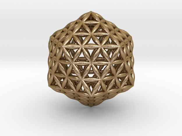 Flower Of Life Icosahedron in Polished Gold Steel