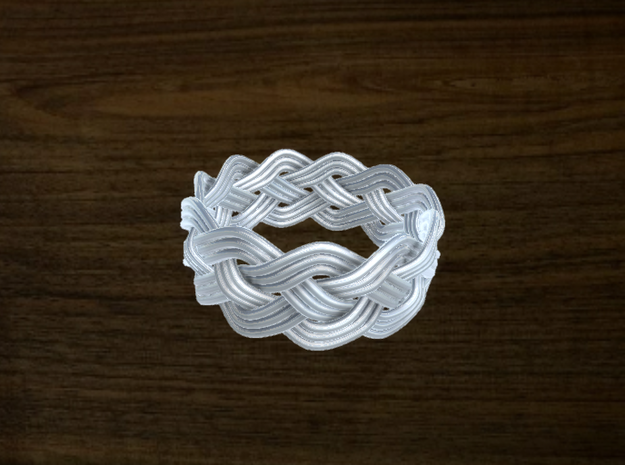 Turk's Head Knot Ring 4 Part X 11 Bight - Size 13 in White Natural Versatile Plastic
