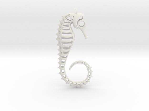 Seahorse Ornament in White Natural Versatile Plastic