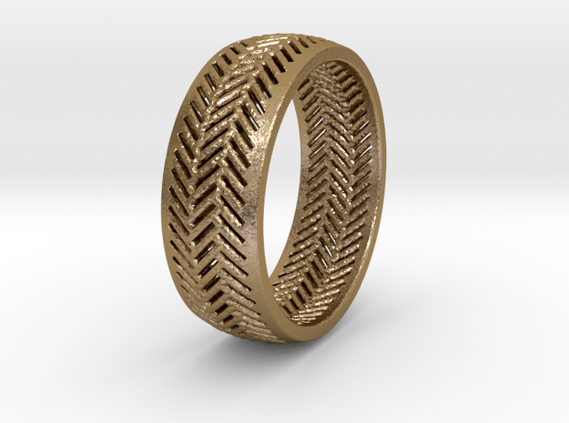 Herringbone Ring in Polished Gold Steel