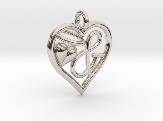 HEART & in Rhodium Plated Brass