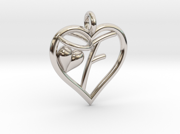 HEART F in Rhodium Plated