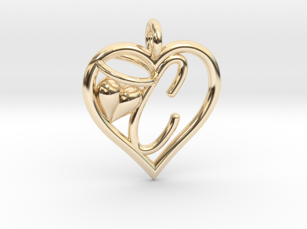 HEART C in 14k Gold Plated Brass