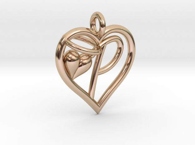 HEART P in 14k Rose Gold Plated Brass
