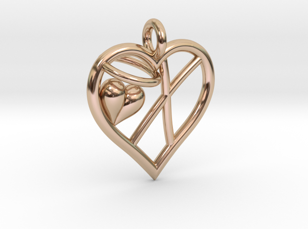 HEART X in 14k Rose Gold Plated Brass