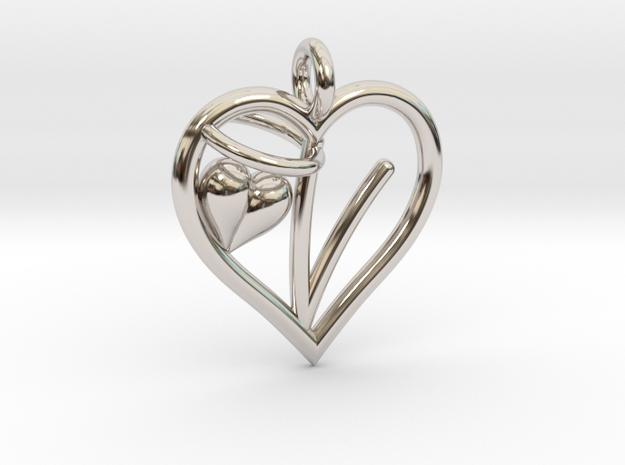 HEART V in Rhodium Plated Brass