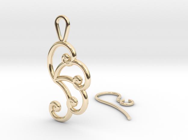 Fibonacci Earring 4 in 14k Gold Plated Brass