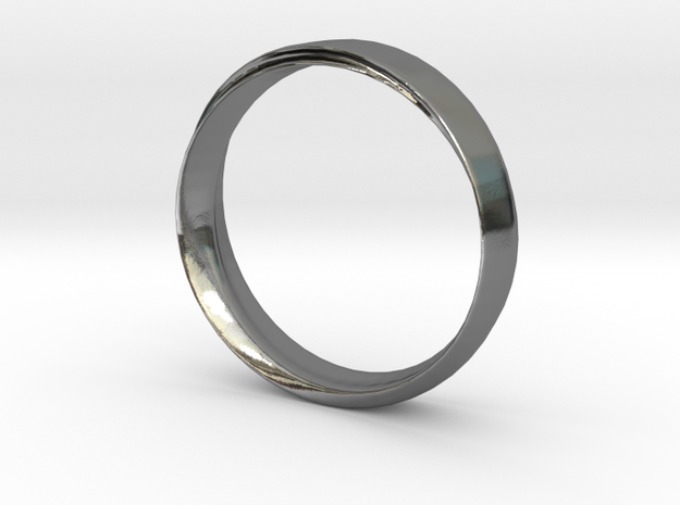 Mobius Ring with Groove Size US 9.75 in Polished Silver