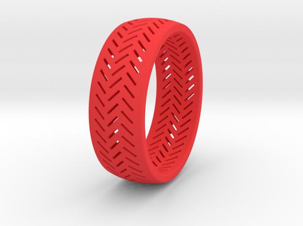 Herringbone Ring Size 7.5 in Red Processed Versatile Plastic
