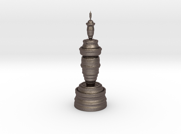 Fractality Chess - Queen in Polished Bronzed Silver Steel