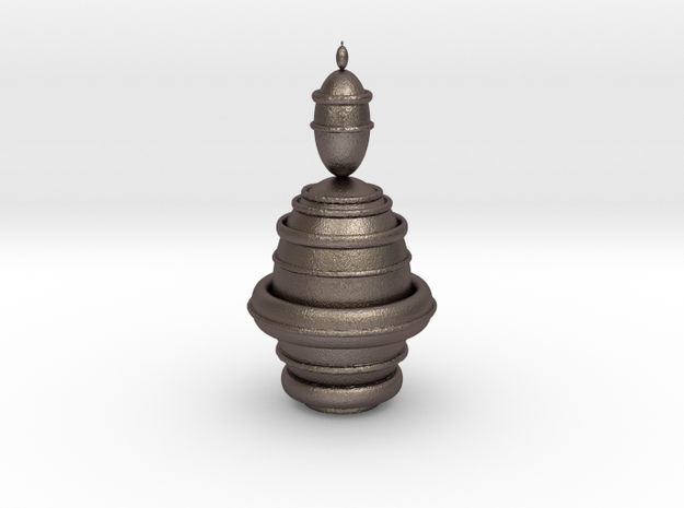 Fractality Chess - King in Polished Bronzed Silver Steel