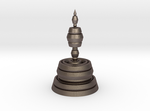 Fractality Chess - Bishop in Polished Bronzed Silver Steel