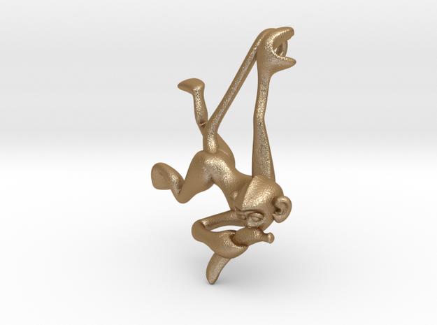 3D-Monkeys 001 in Matte Gold Steel