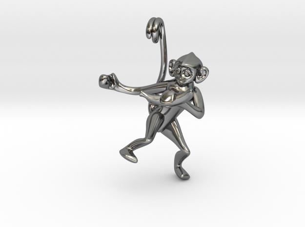 3D-Monkeys 003 in Fine Detail Polished Silver
