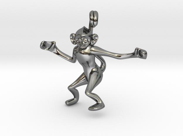 3D-Monkeys 005 in Fine Detail Polished Silver