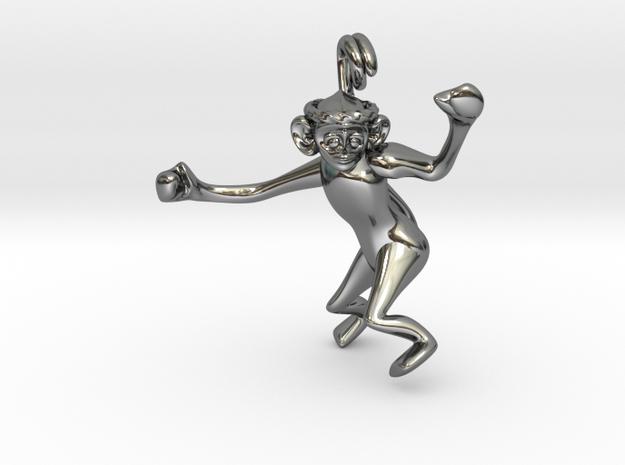 3D-Monkeys 009 in Fine Detail Polished Silver