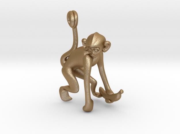 3D-Monkeys 014 in Matte Gold Steel