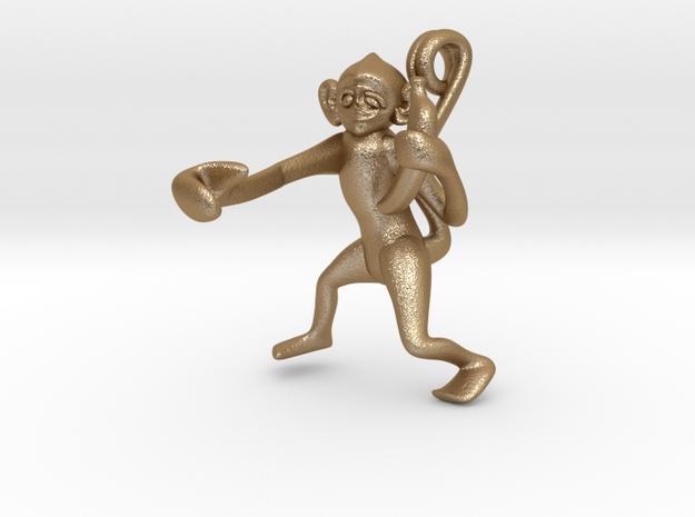 3D-Monkeys 023 in Matte Gold Steel