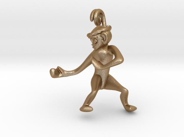 3D-Monkeys 025 in Matte Gold Steel
