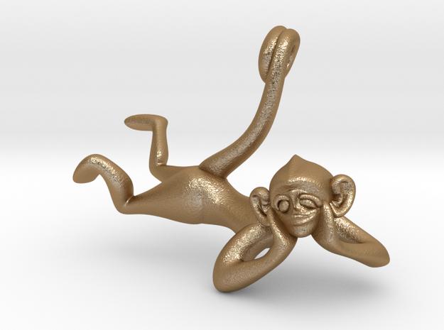 3D-Monkeys 028 in Matte Gold Steel