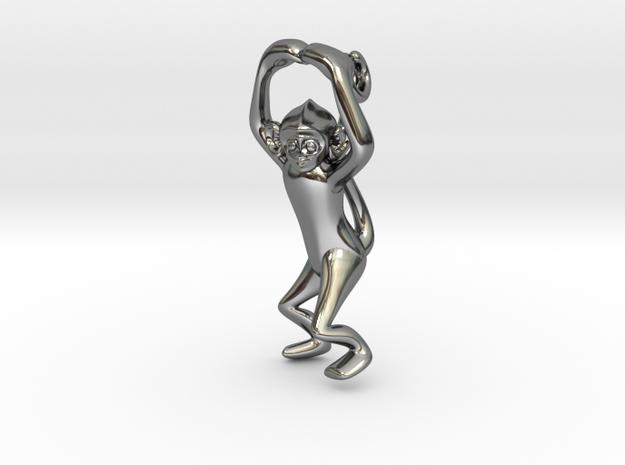 3D-Monkeys 031 in Fine Detail Polished Silver