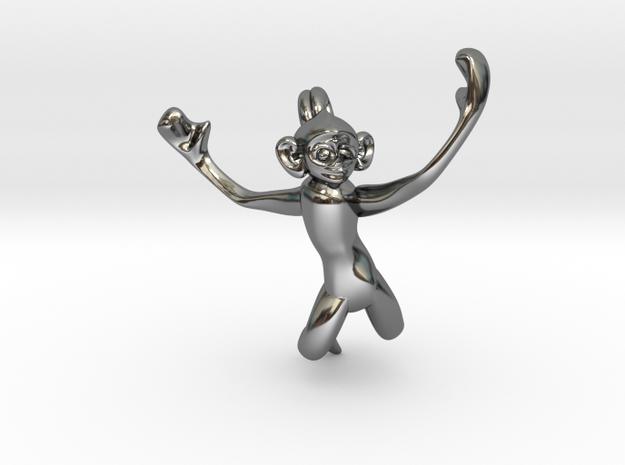 3D-Monkeys 045 in Fine Detail Polished Silver