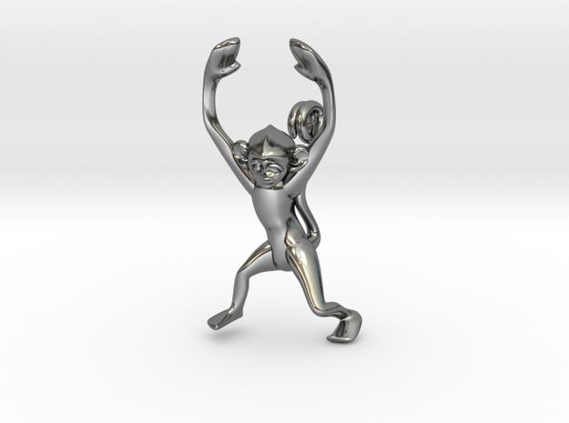 3D-Monkeys 054 in Fine Detail Polished Silver