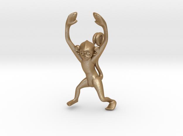 3D-Monkeys 054 in Matte Gold Steel