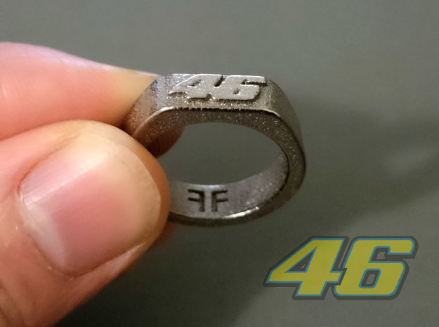 Valentino Rossi - 46 -  MotoGP ring 20mm in Polished Nickel Steel