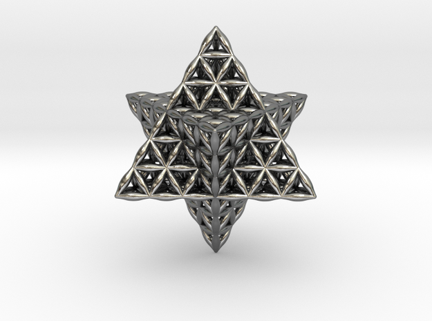 Flower Of Life Tantric Star in Polished Silver