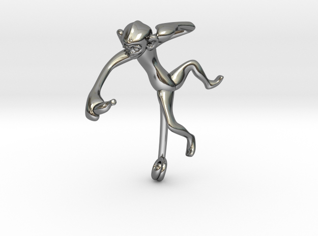 3D-Monkeys 124 in Fine Detail Polished Silver