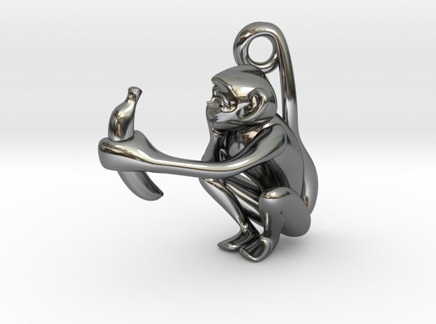 3D-Monkeys 156 in Fine Detail Polished Silver