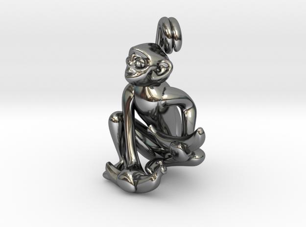 3D-Monkeys 168 in Fine Detail Polished Silver