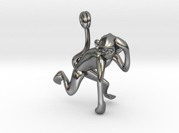 3D-Monkeys 178 in Fine Detail Polished Silver