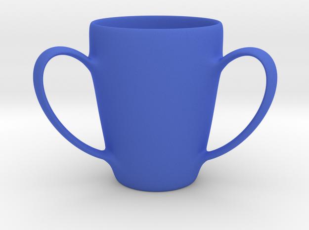 Coffee mug #2 XL - 3 Handles in Blue Processed Versatile Plastic