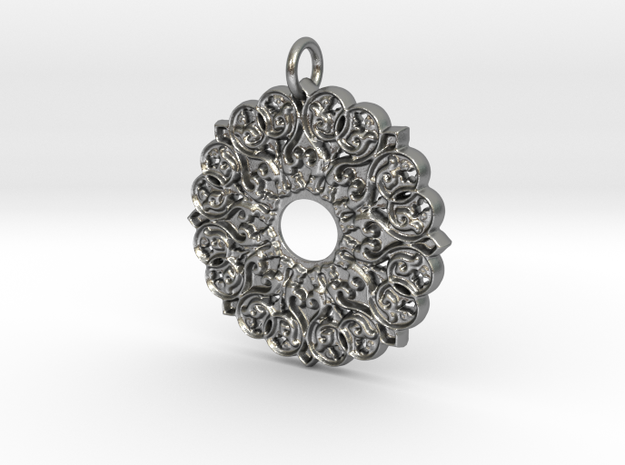 Moorish Mandala Pendant in Raw Silver