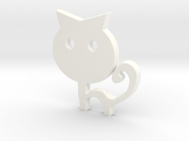 Keychain Cat in White Strong & Flexible Polished