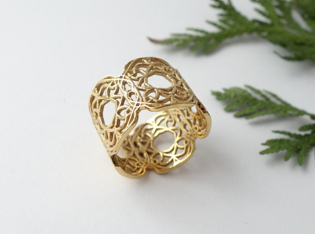 Arabesque Motif Band - Size 9 in 14k Gold Plated Brass