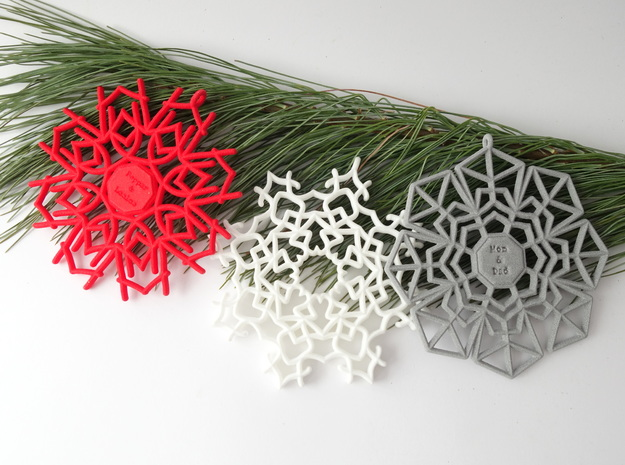 Peppermint Snowflake in White Processed Versatile Plastic