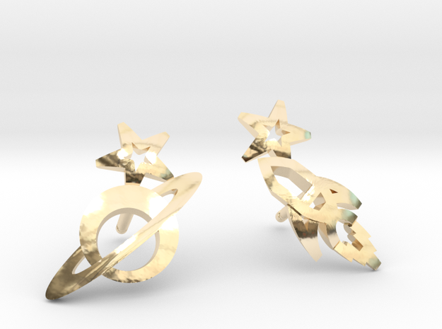 Earrings 'retro-Space' - Rocket/Planet in 14k Gold Plated Brass