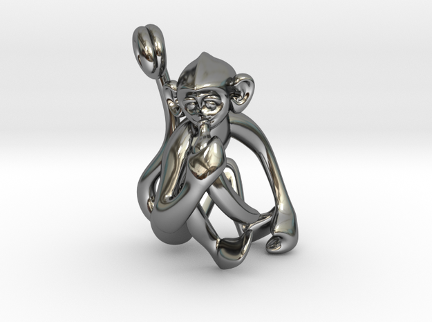 3D-Monkeys 316 in Fine Detail Polished Silver