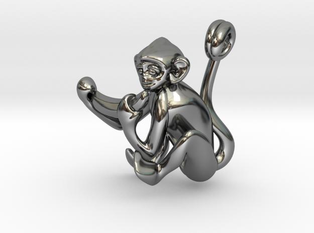 3D-Monkeys 361 in Fine Detail Polished Silver
