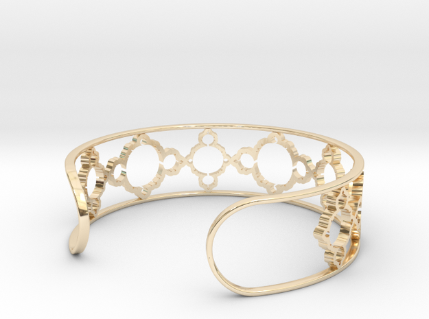 Mandelbrot Due Bracelet 7in (18cm) in 14k Gold Plated Brass