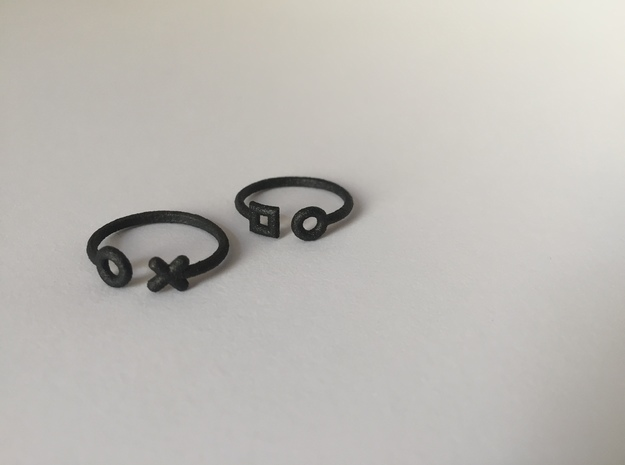 2 part stack rings (Medium, small) in Matte Black Steel