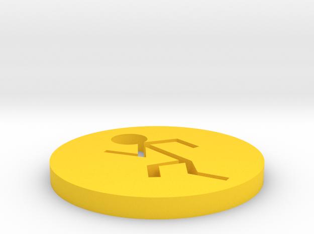 Running Man in Yellow Processed Versatile Plastic