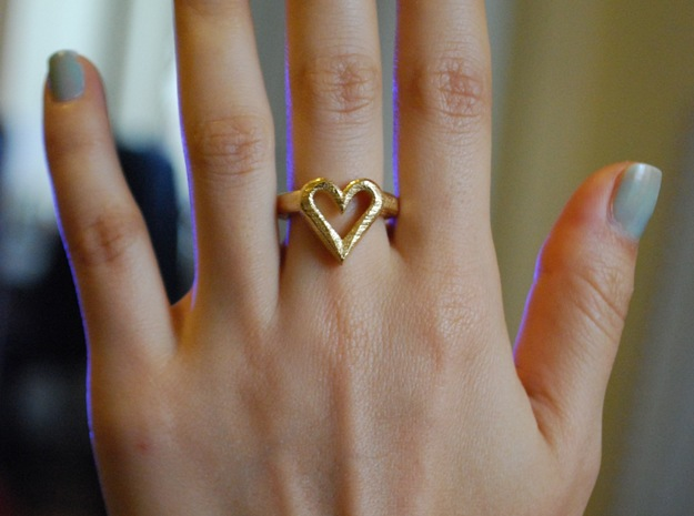 FLYHIGH: Open Hearts Ring 17mm in Polished Gold Steel