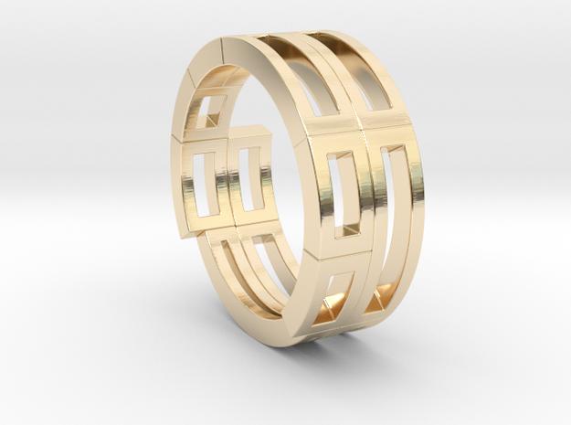 Geometri-K ring (52) in 14k Gold Plated Brass